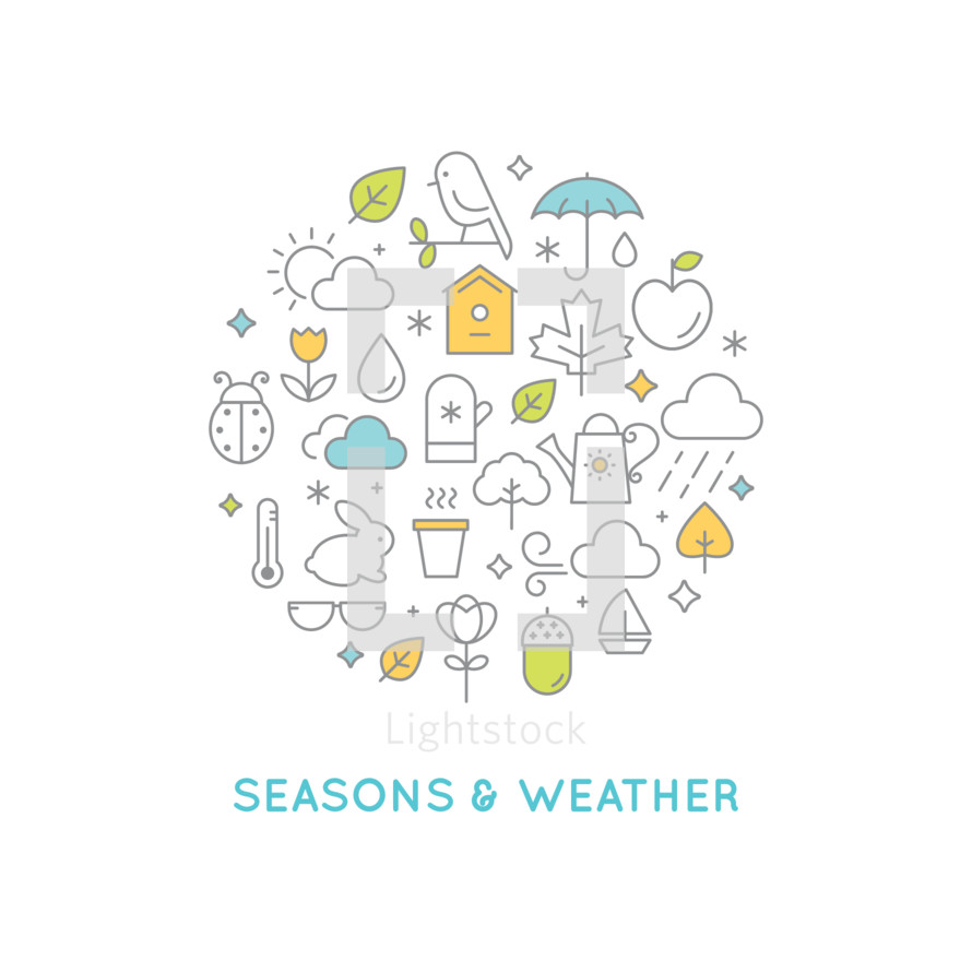 Seasons and Weather, seasons, weather, icons, icon set, fall, summer, bunny, glasses, thermometer, leaves, acorn, flowers, watering can, wind, clouds, ladybug, bug, bird, umbrella, birdhouse, pot, tree, apple, raindrop, sun, clouds, snowflake