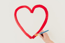 painting red heart