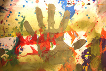 a painted hand print