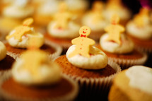 gingerbread men on cupcakes