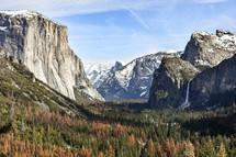 snow on mountain peaks of Yosemite
