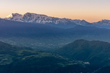 French landscape - Chartreuse. Panoramic view over the valleys and Alps nearby Grenoble