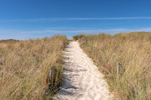 sandy path over sand dunes