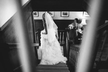 bride walking down a staircase
