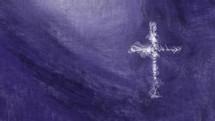 cross in motion on purple