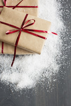 wrapped gifts in snow