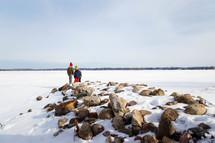 kids walking in snow