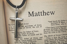 Matthew and a cross necklace