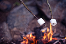 Two marshmallows roasting over a campfire.