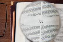 magnifying glass over Job