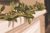 Christmas garland on a mantel