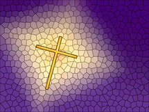 Illustration of a golden cross on a purple background with stained glass effect.