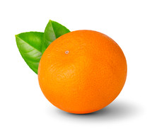 Mandarin orange with leaves.
