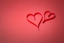 hearts on red