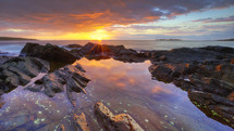 Reflection of the sunset in a tide pool,