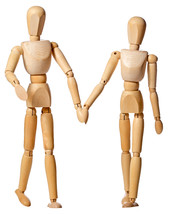 Manikin couple holding hands.