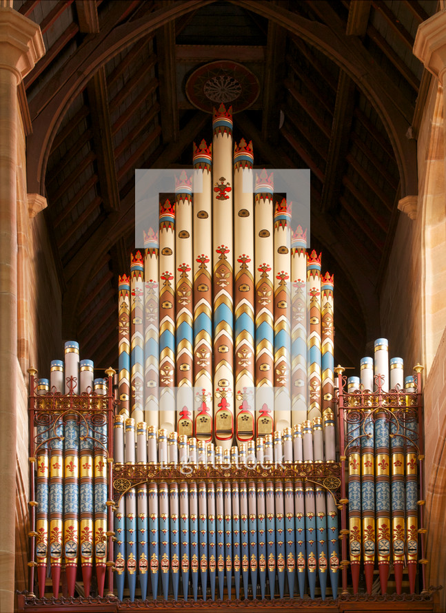Ornate organ pipes.