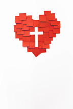 red heart and cross post-its