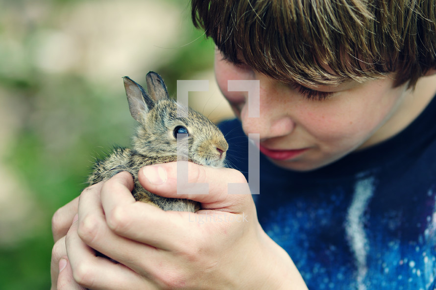 Boy holding a baby bunny.