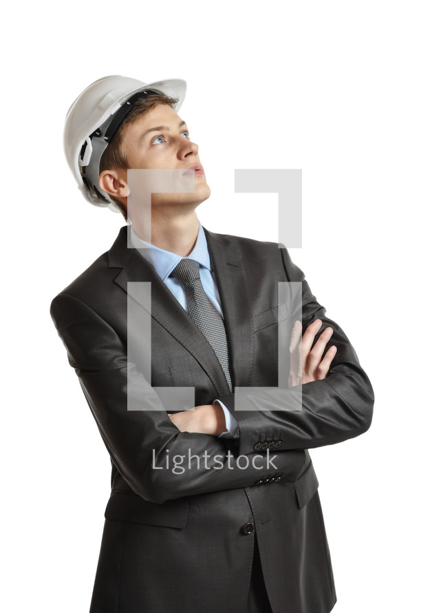 Executive in a hardhat.