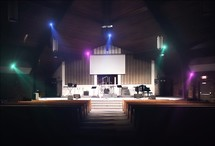 an empty church stage
