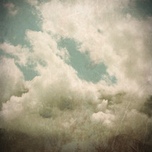 clouds with mountain peaks - grunge vintage