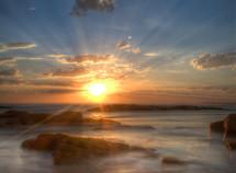 brilliant sunset over Birubi Beach