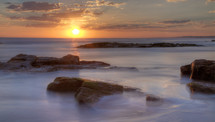 Birubi beach at sunset.