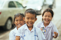 happy preschool children in Thailand