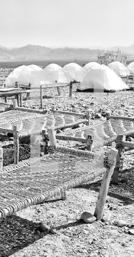 tents and cots in Ethiopia