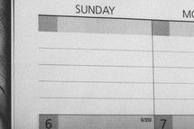 Sunday on a calendar