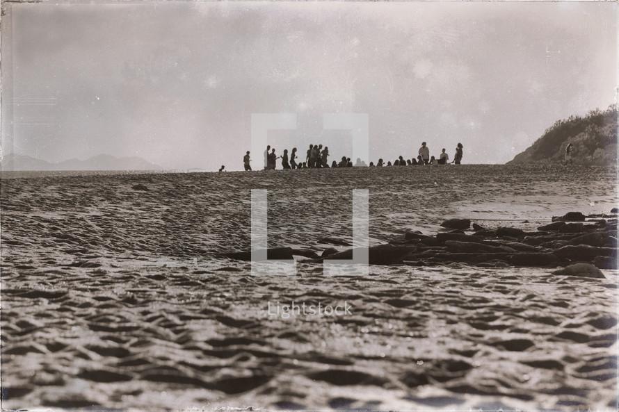 crowds on a beach