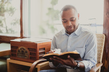 Man studying the Bible.