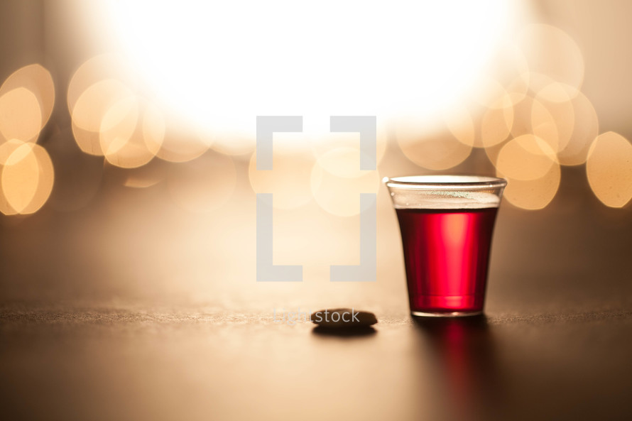 Communion cup and wafer at Christmas time