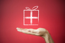 a chalk outline of a gift tied with a bow, supported by an outstretched hand on a red background