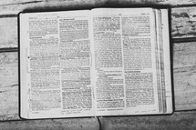 Bible open to Mark 10-11 laying on wooden table.