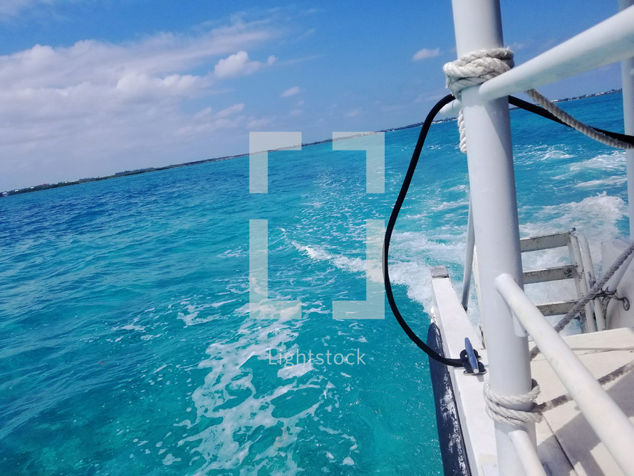 boating over blue water