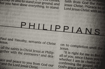 Open Bible in book of Philippians