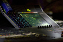 soundboard in a sound booth