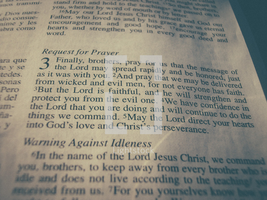 Bible verse  - 2 Thessalonians 3 - Request for prayer