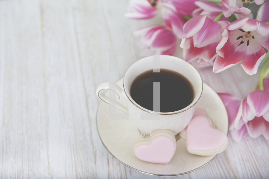 Sweet Floral Morning Coffee Background
