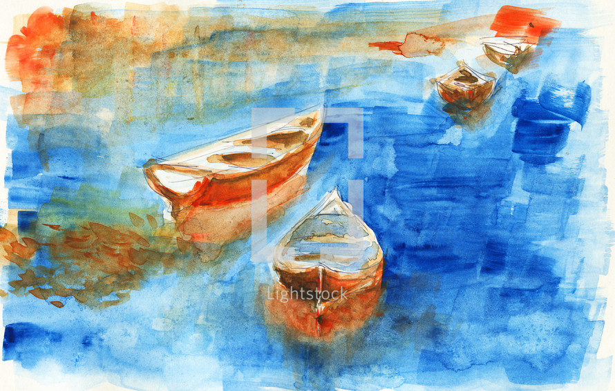 watercolor painting of boats on water