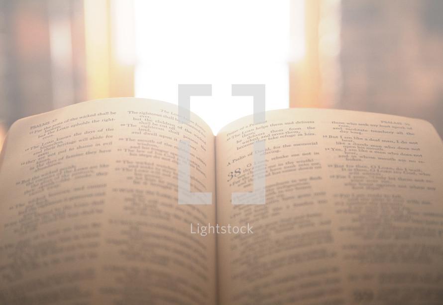 open Bible and sunlight through a window