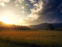 Sunrise over a pasture near mountains.