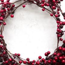 red berries border on white