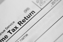 close up of a paper Tax Return.