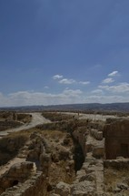 Excavation of King Herod's palace known as the Herodium showing the curved structure of the walls
