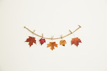 fall leaves on clothespins