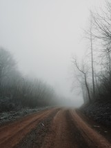 A dirt road leading into fog.