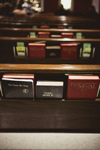 Pews full of Bibles and hymnals